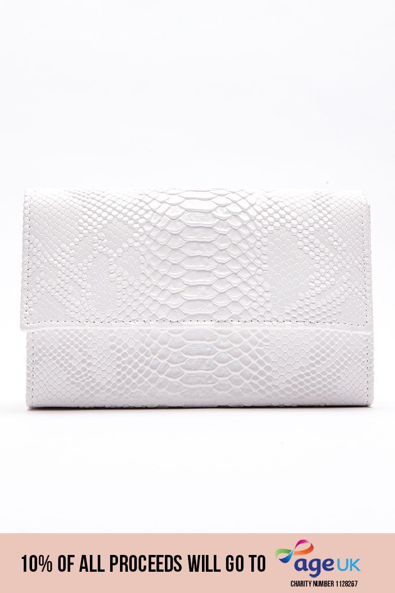 WHITE FAUX CROC CLUTCH BAG