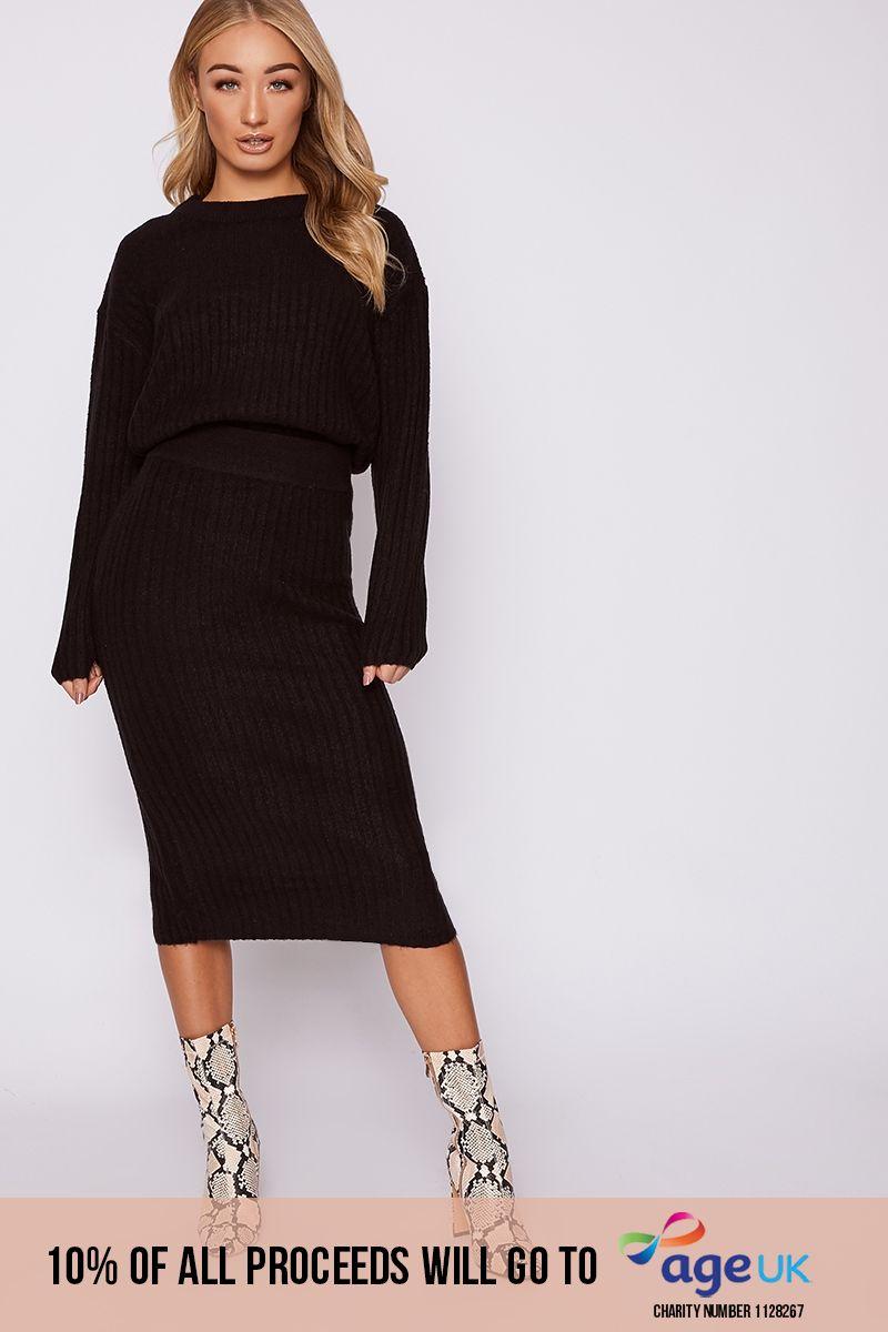 black oversized jumper & midi skirt co-ord