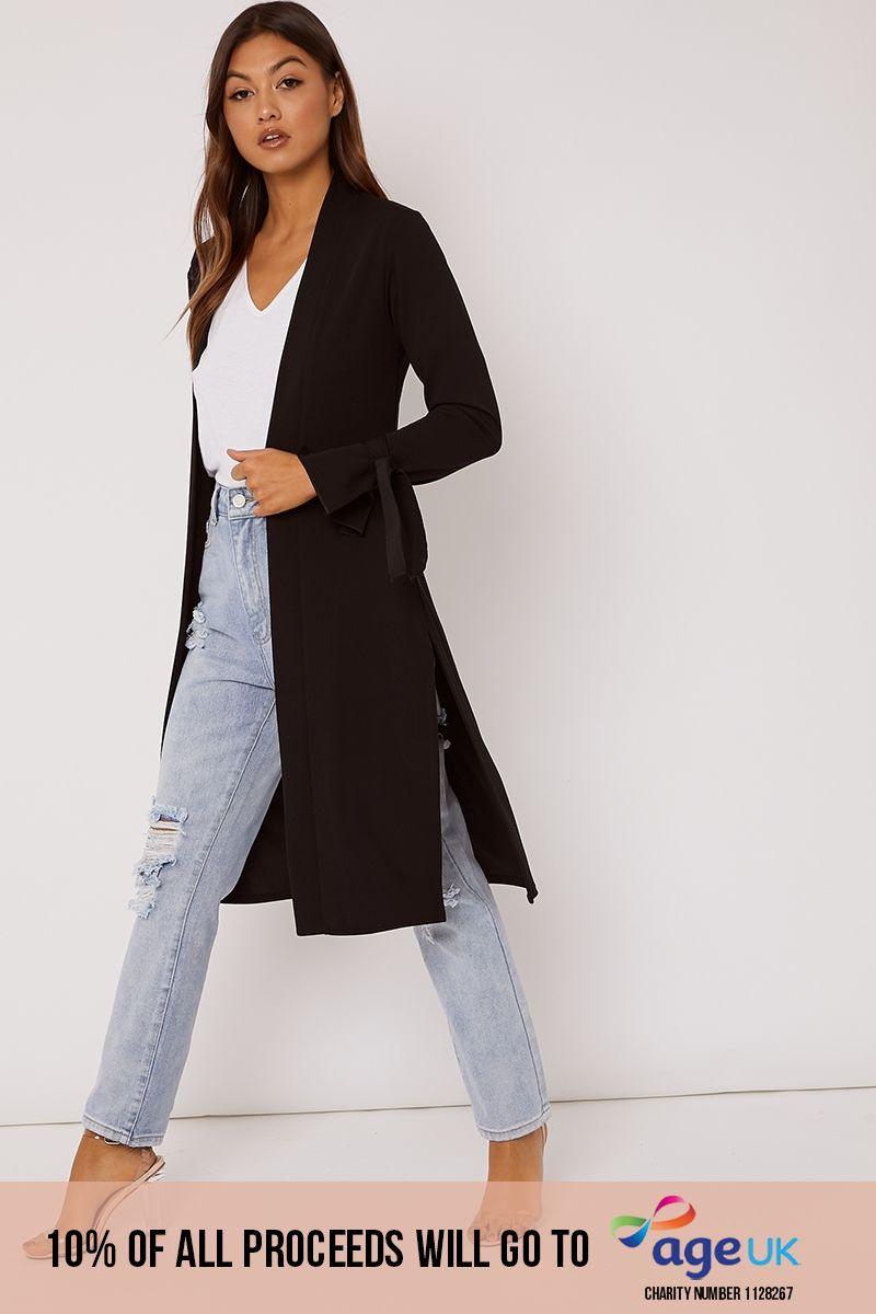 black tie sleeve belted duster jacket