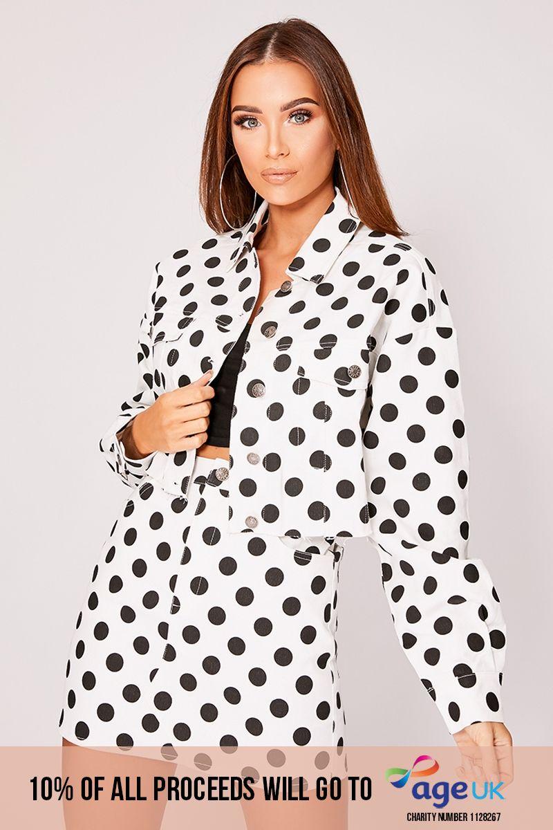 white polka dot cropped denim co-ord jacket