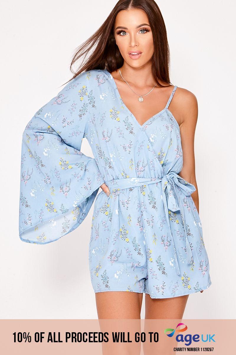 blue floral one shoulder playsuit