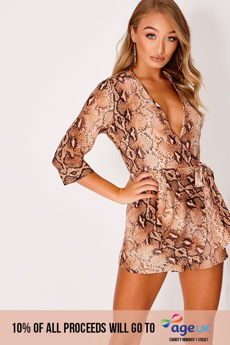 rust snake print tie front wrap playsuit