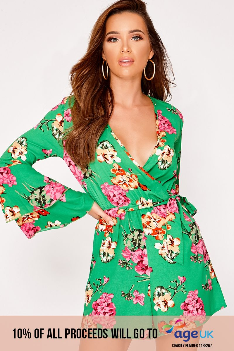 green floral plunge wrap frill playsuit