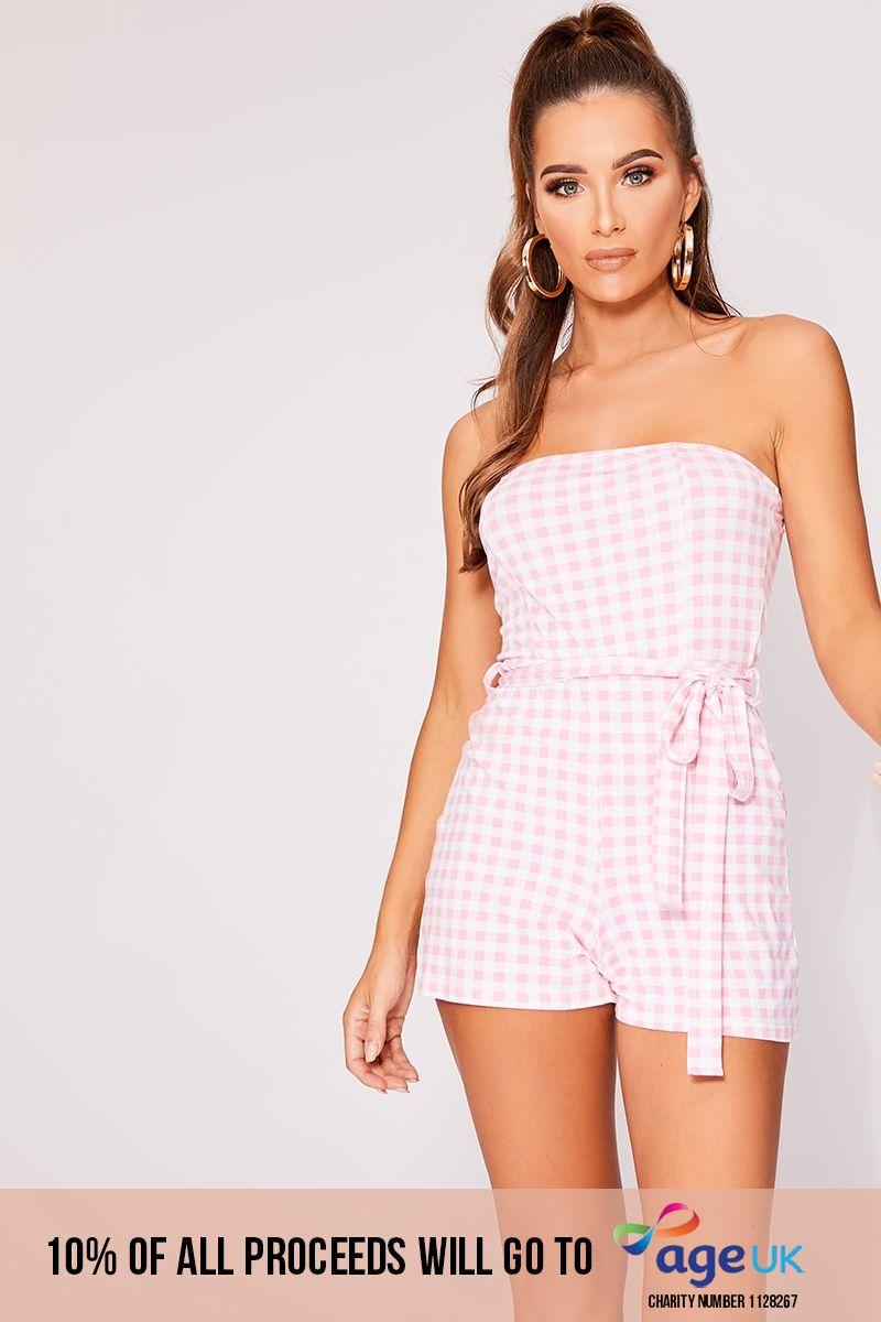 pink gingham jersey tie waist bandeau playsuit