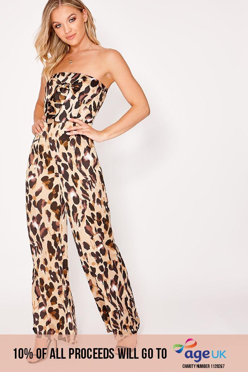 gold satin leopard print beandeau tie front jumpsuit