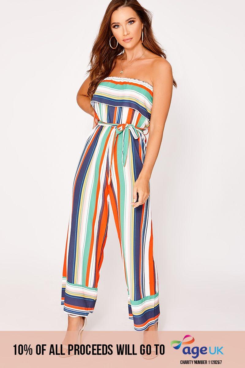 orange stripe bandeau frill culotte jumpsuit