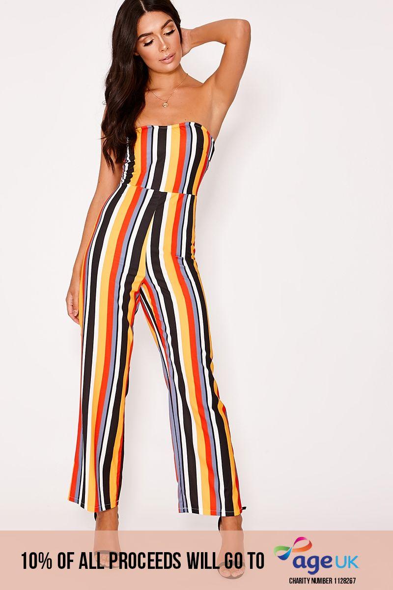 red multi striped bandeau jumpsuit