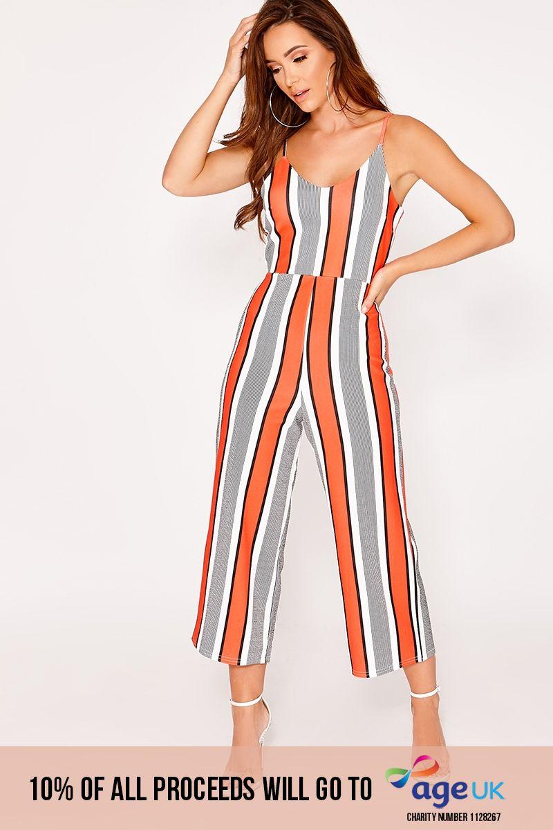 red stripe culotte jumpsuit
