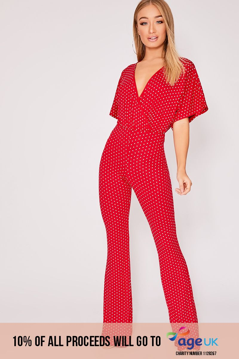 red polka dot wrap over jumpsuit
