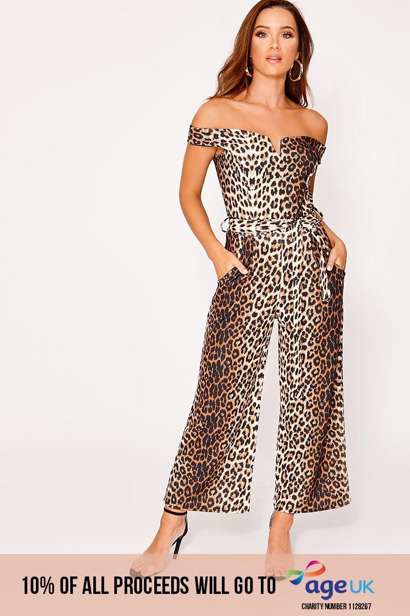 tan leopard print bardot culotte jumpsuit