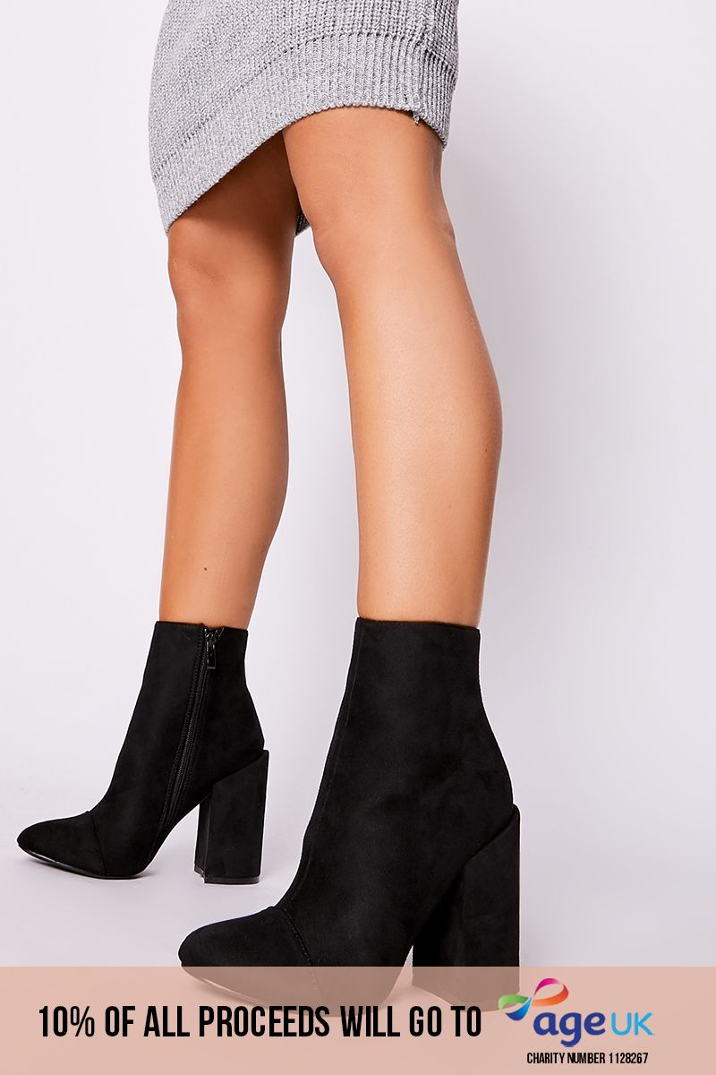 black faux suede round toe heeled ankle boots