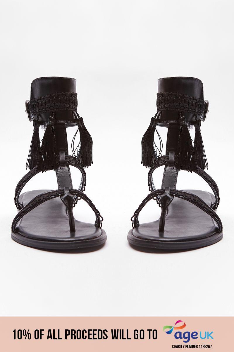 black tassel buckle detail sandals