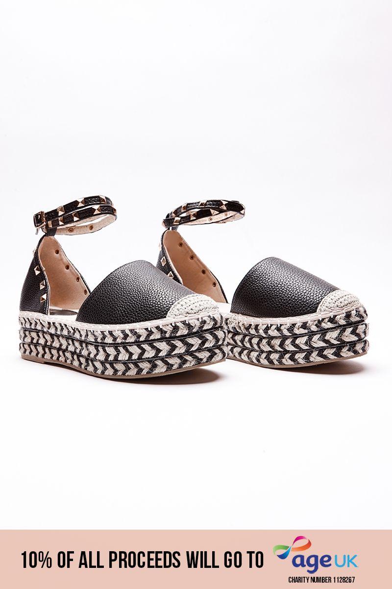 black studded aztec pattern espadrilles