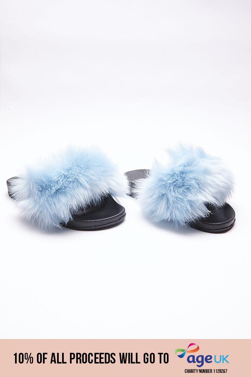 blue fluffy sliders