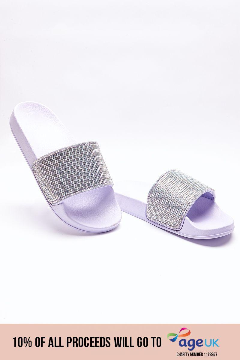 lilac holographic diamante sliders