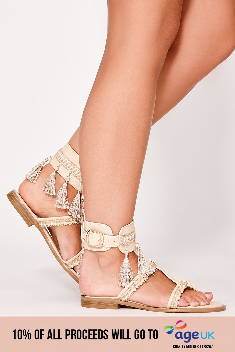 nude tassel buckle detail sandals