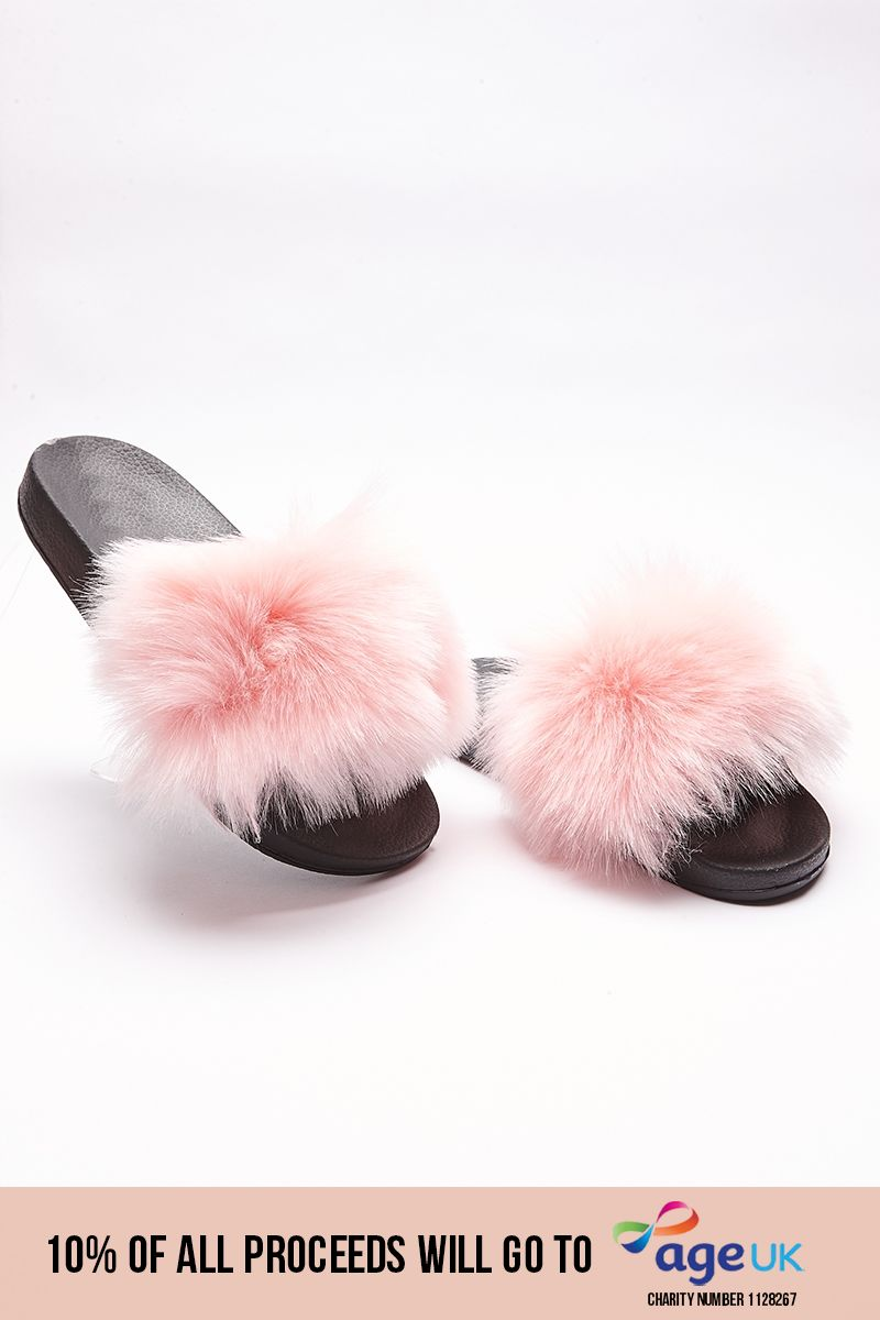 pale pink fluffy sliders