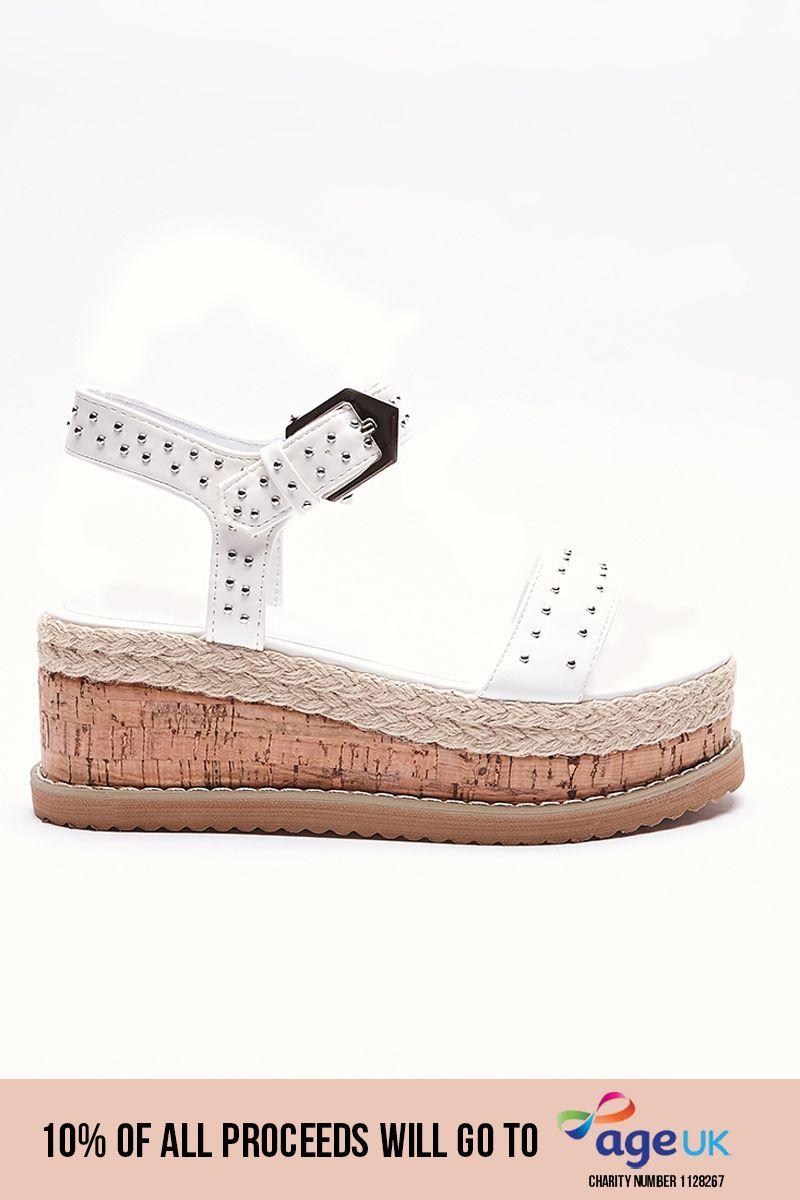 white faux leather platform espadrilles