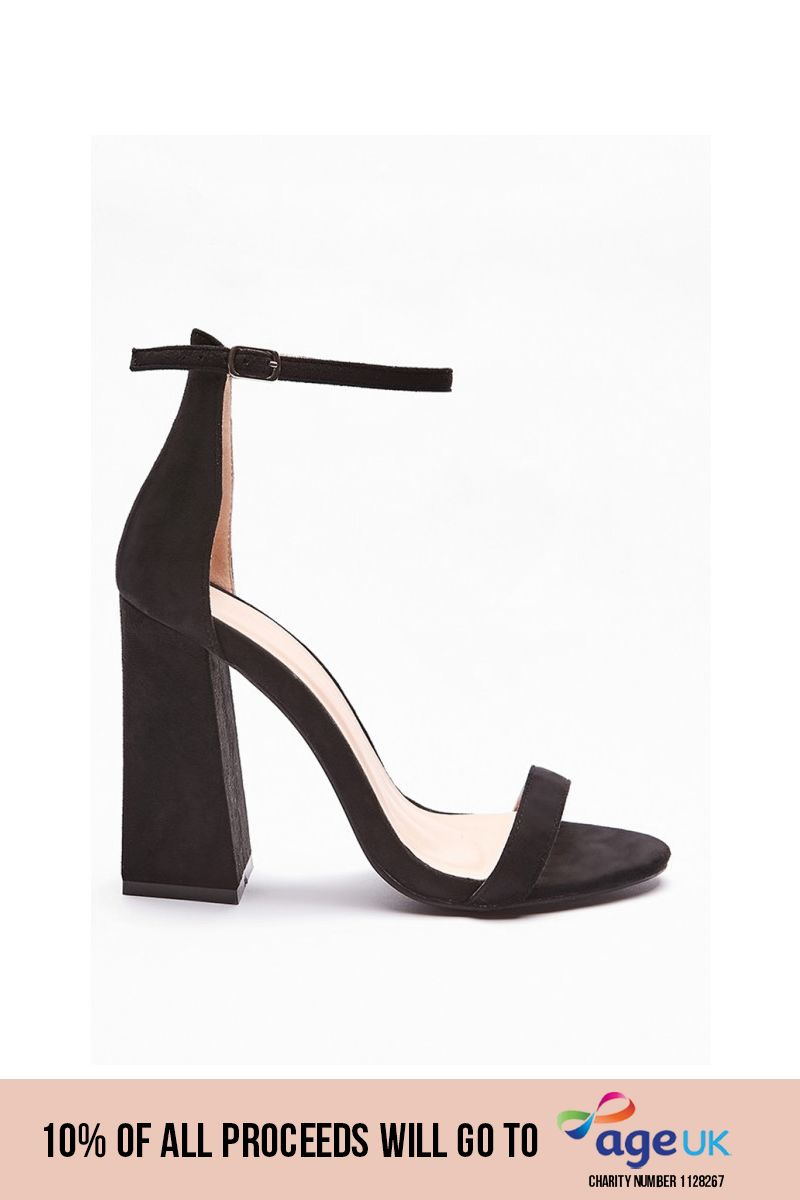 black flared barely there heels