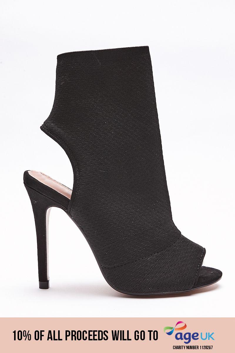 black knitted peep toe stiletto heels