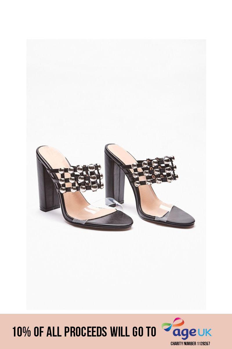 black studded clear strap heels