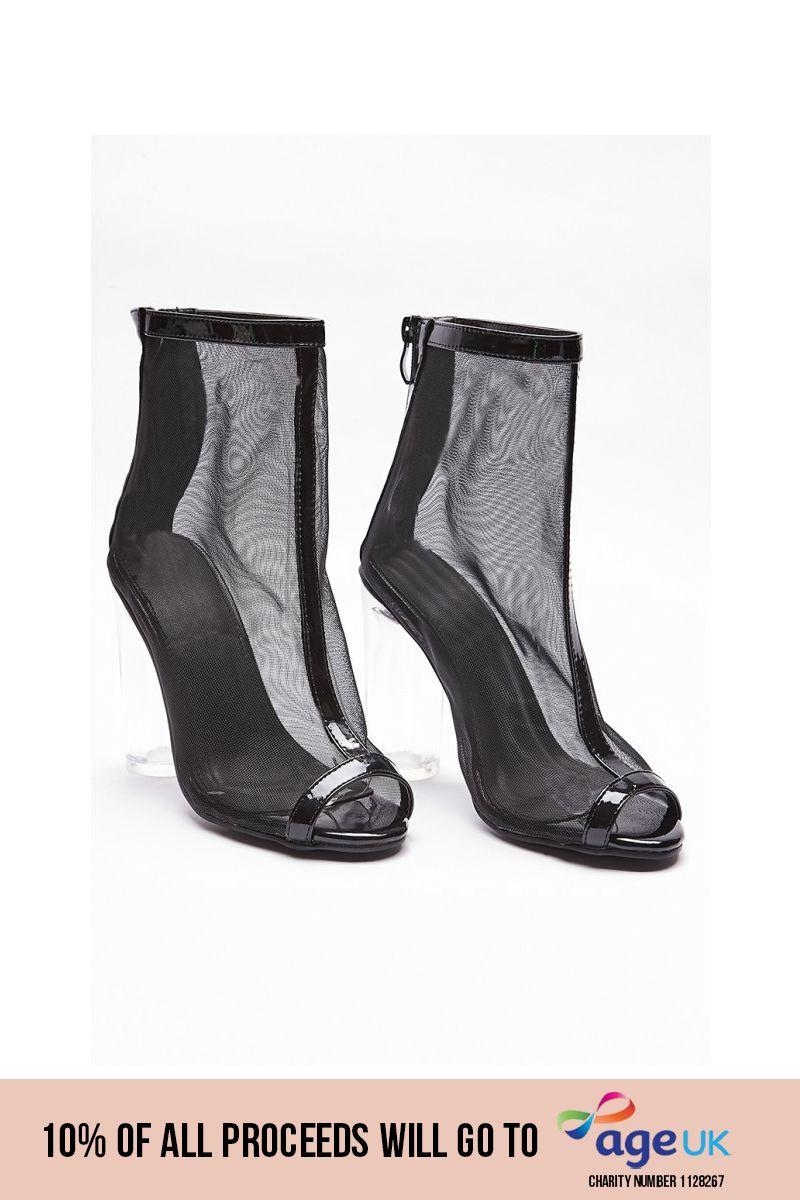 black mesh peep toe clear heels