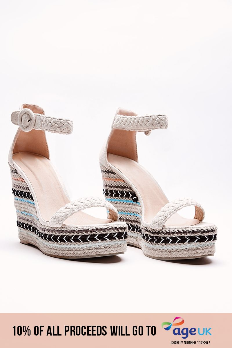 cream aztec pattern wedges