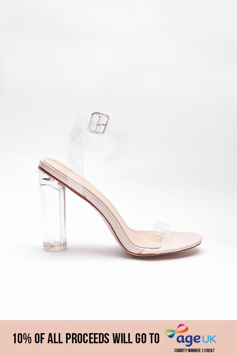 nude clear barely there block heels