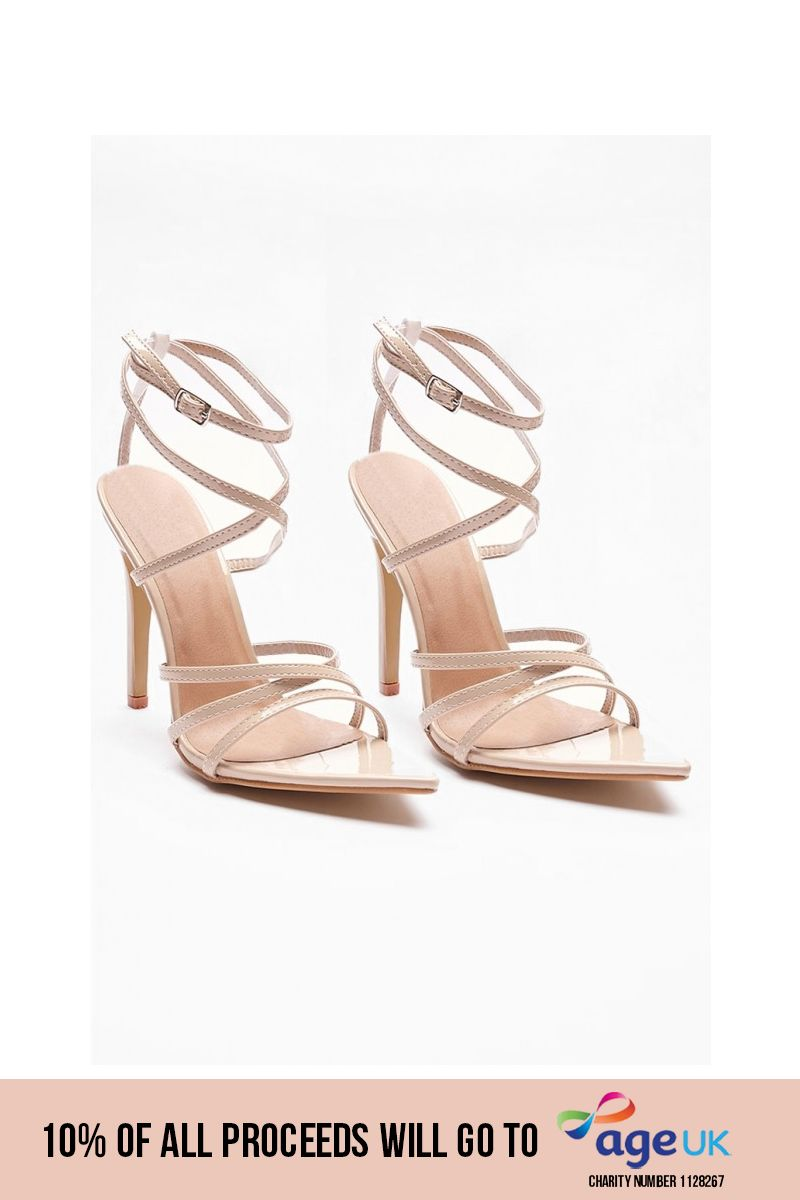 nude strappy pointed heels