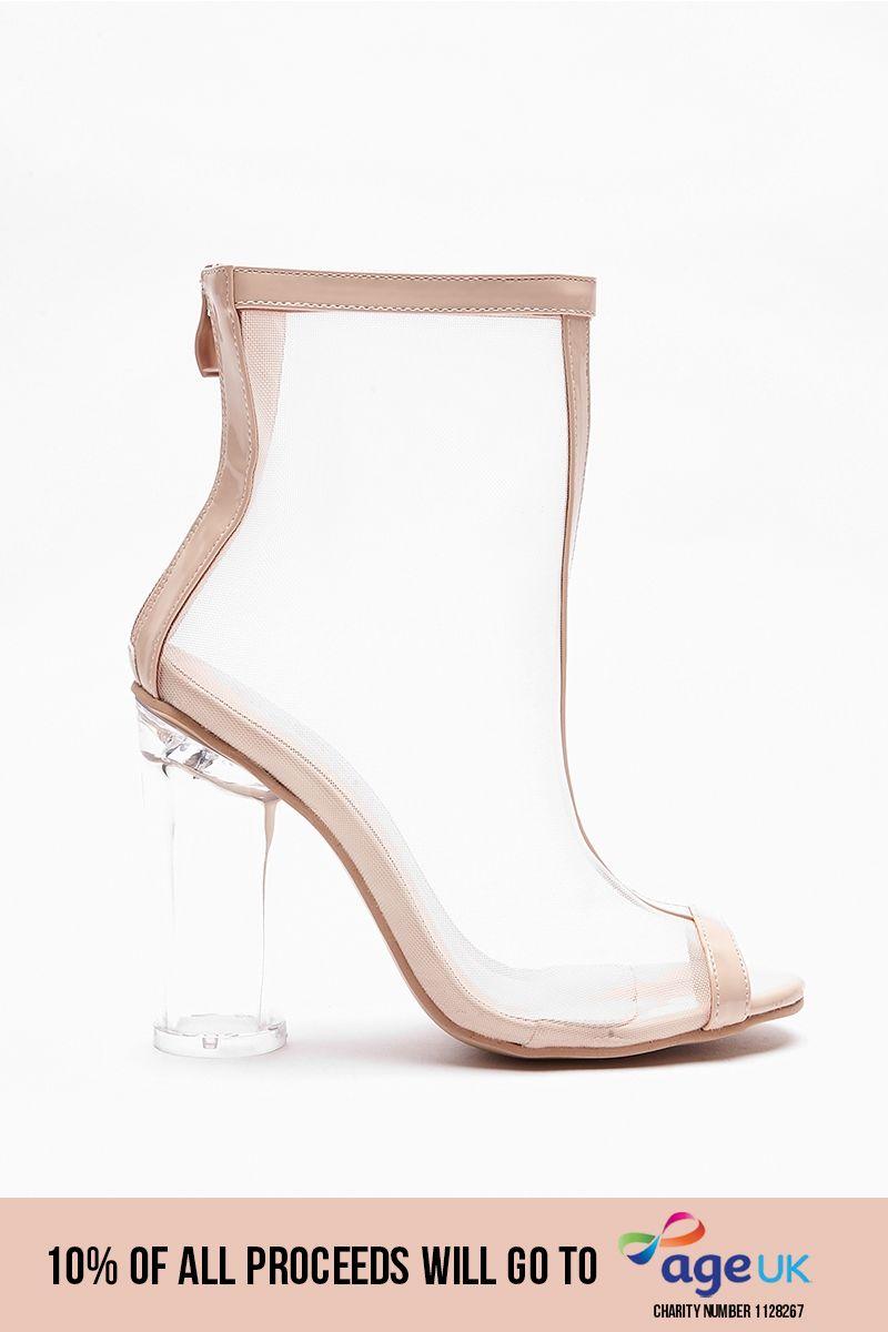 nude mesh peep toe clear heels