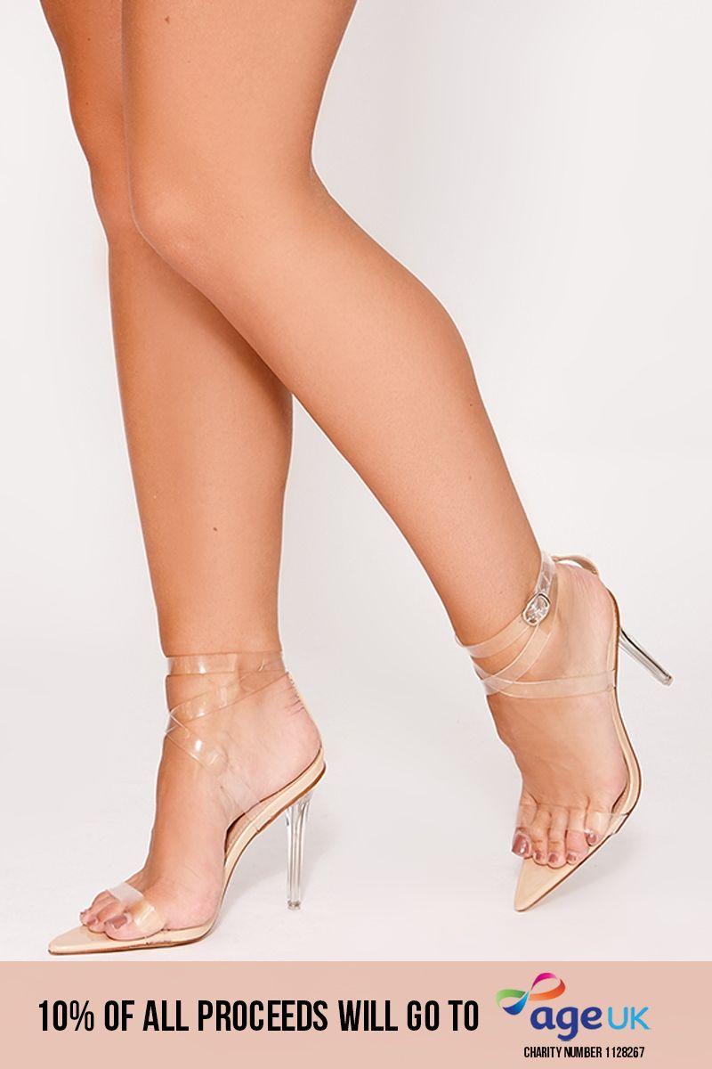 nude clear strappy pointed detail heels