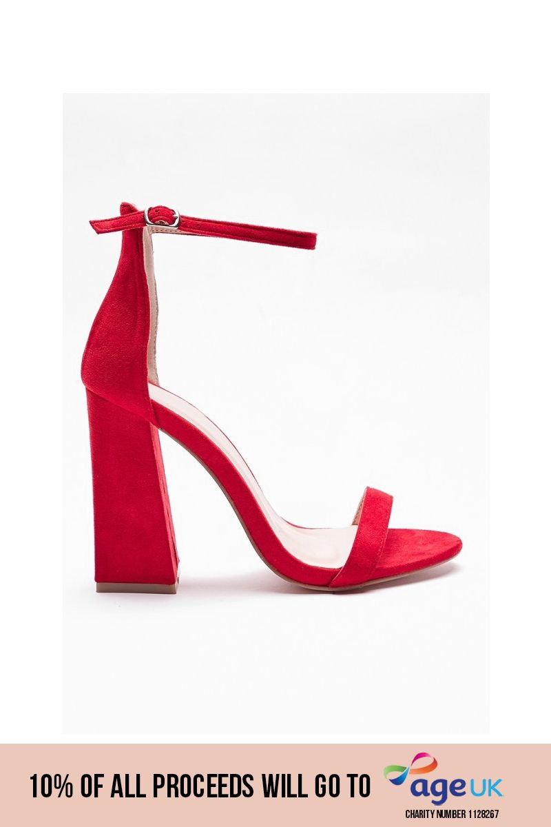 red flared barely there heels
