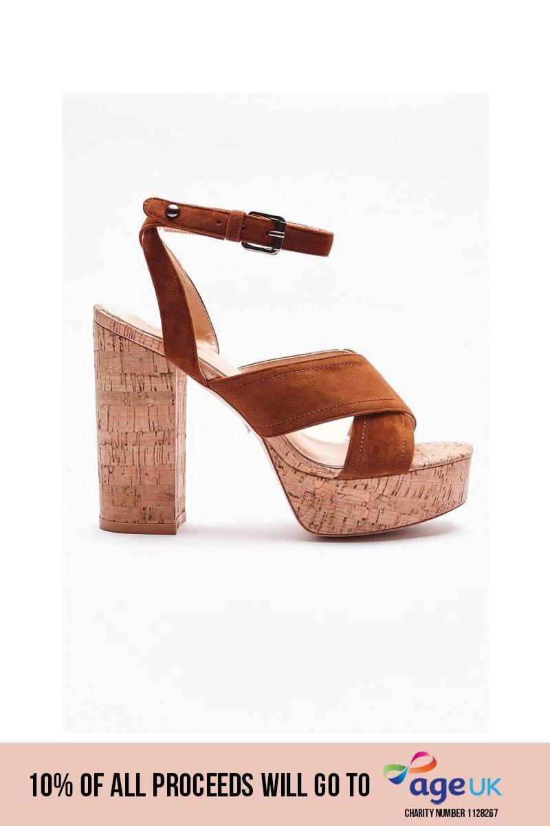 tan faux suede cross strap heels