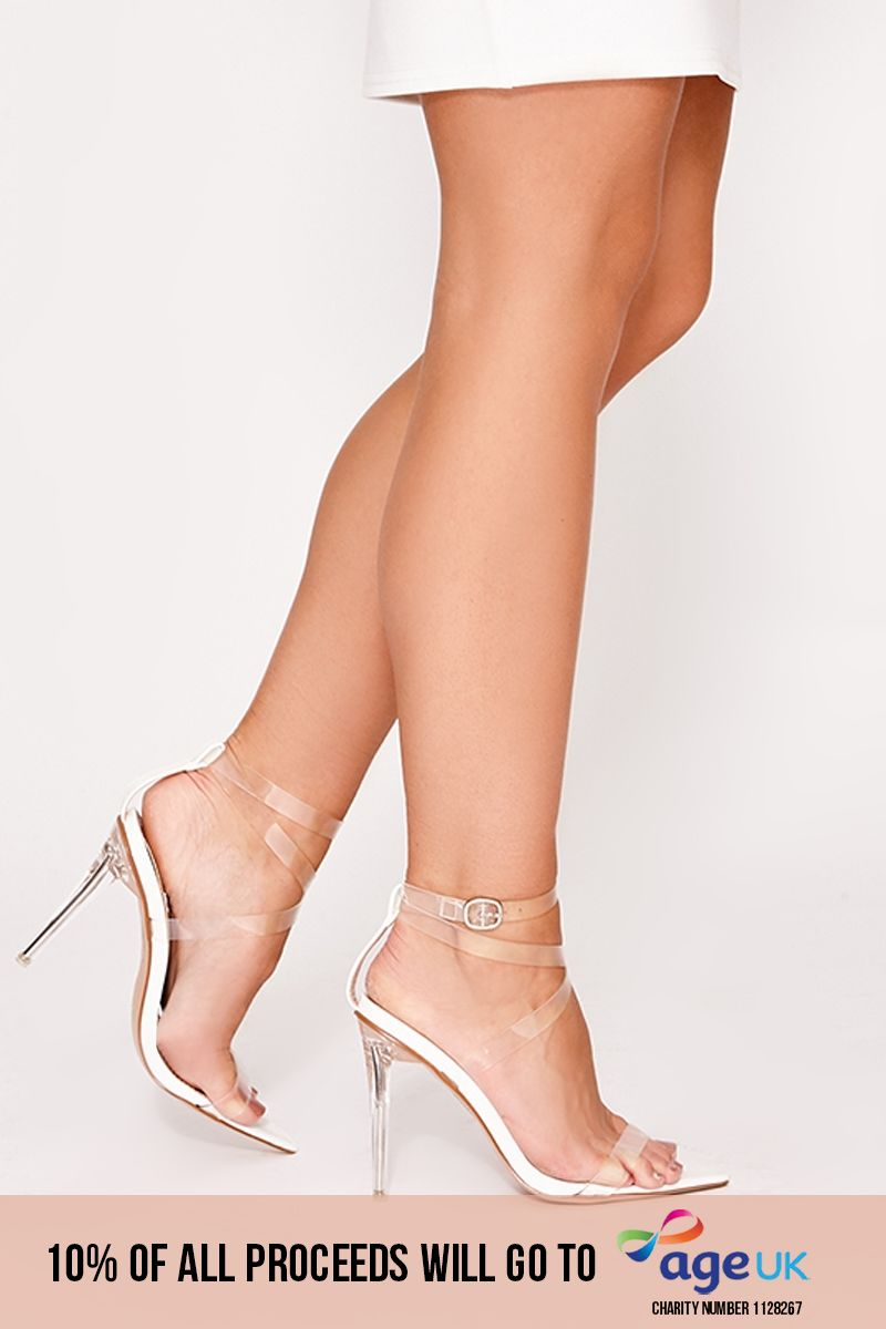 white clear strappy pointed detail heels