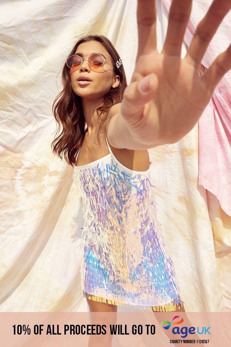 iridescent sequin slip dress