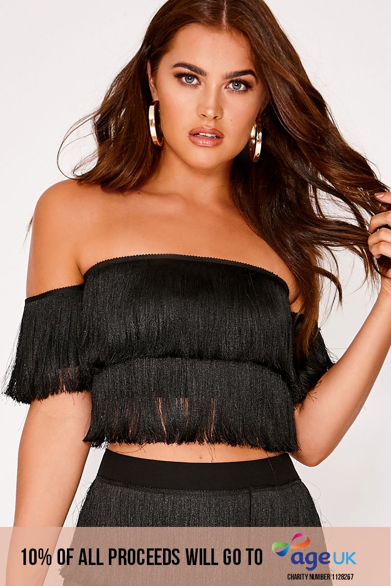 black tassel bardot co-ord crop top