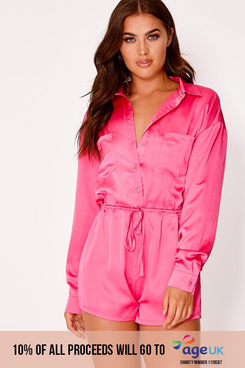 pink satin playsuit
