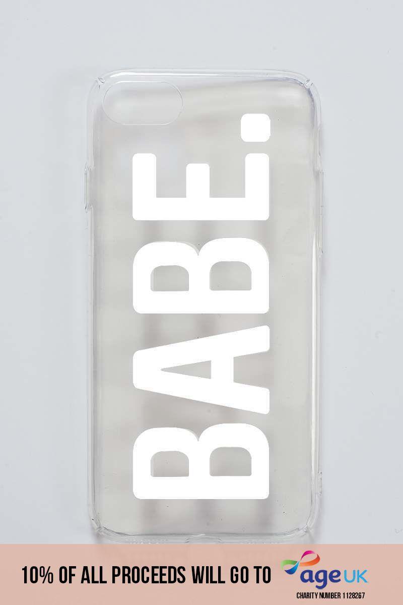 clear slogan 'babe' phone case