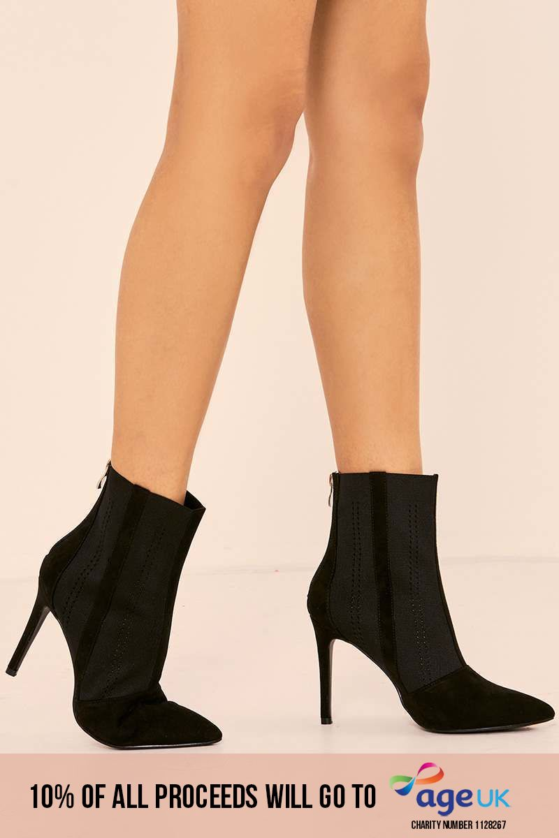 black faux suede stretch insert heeled ankle boots