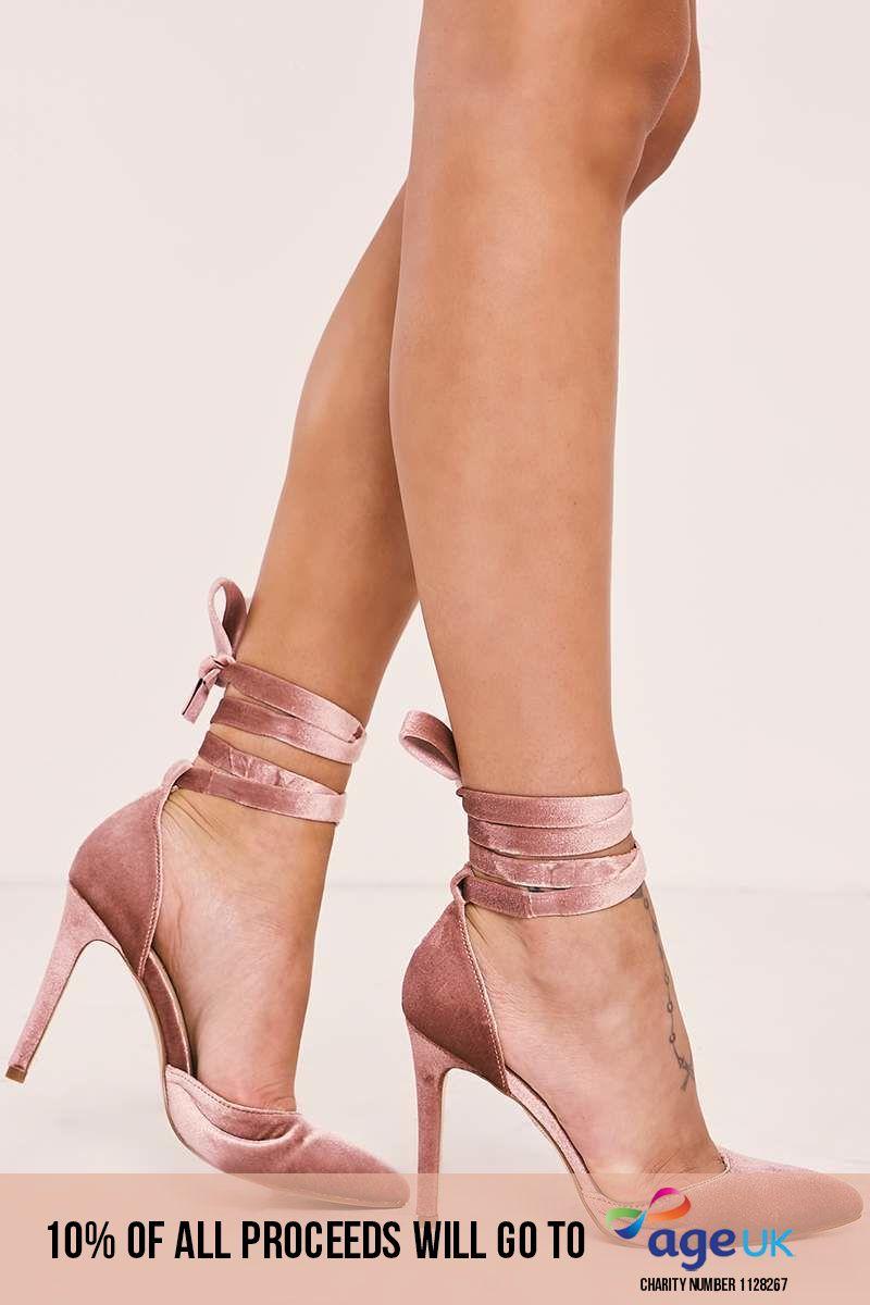 pink velvet tie strap heels