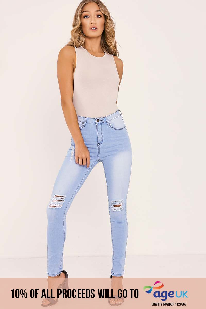 light wash high waisted ripped skinny jeans