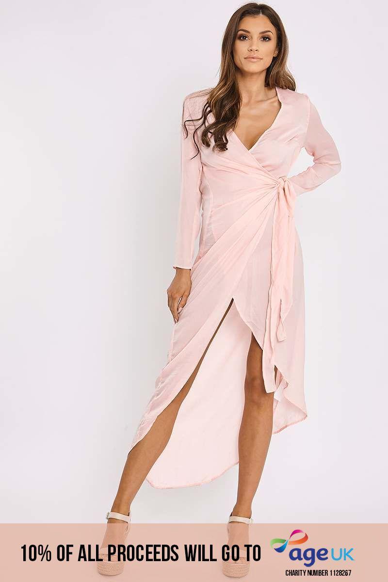 pink silky wrap maxi shirt dress