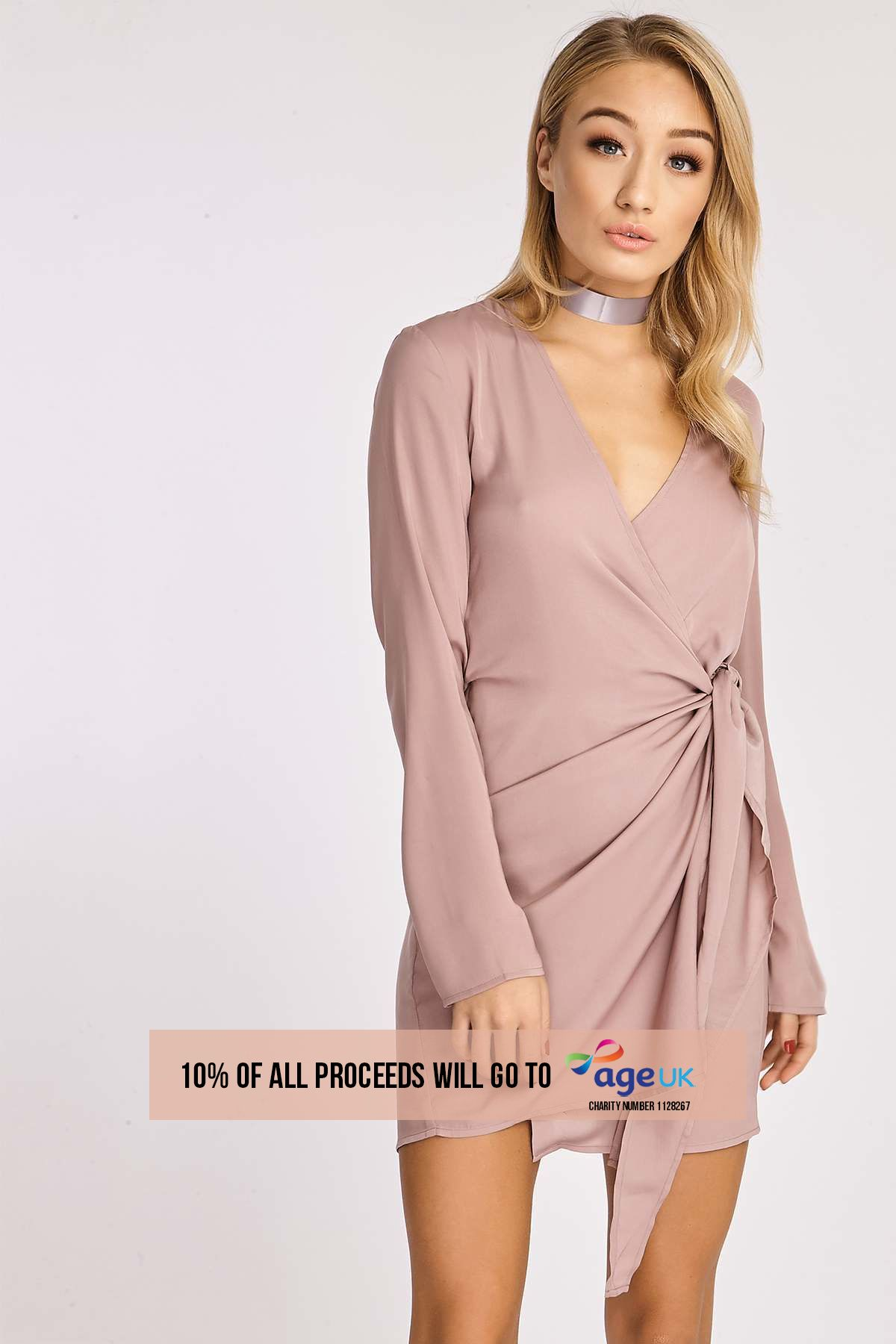 mink silky wrap shirt dress