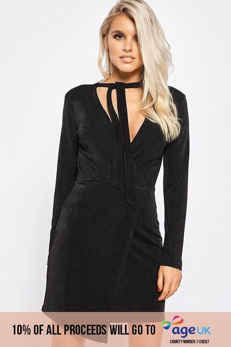 black wrap front slinky dress