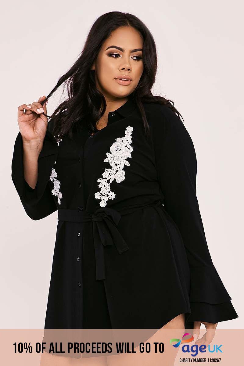CURVE BILLIE FAIERS BLACK FLORAL APPLIQUE DOUBLE FRILL SHIRT DRESS