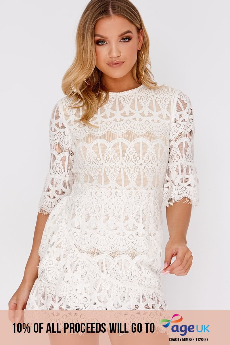 white lace sleeved frill hem dress