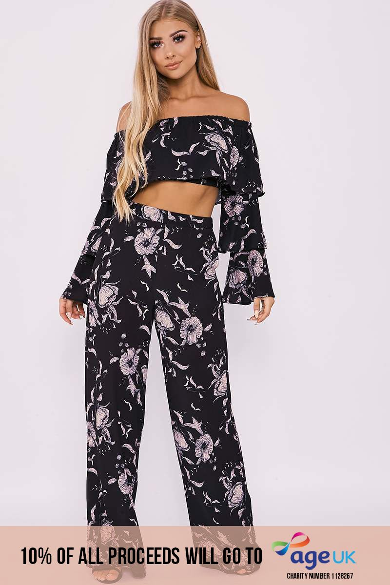 BILLIE FAIERS BLACK FLORAL PRINT PALAZZO TROUSERS