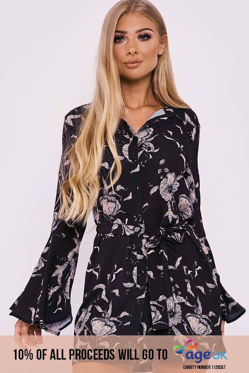 BILLIE FAIERS BLACK FLORAL PRINT FLARED SLEEVE SHIRT DRESS