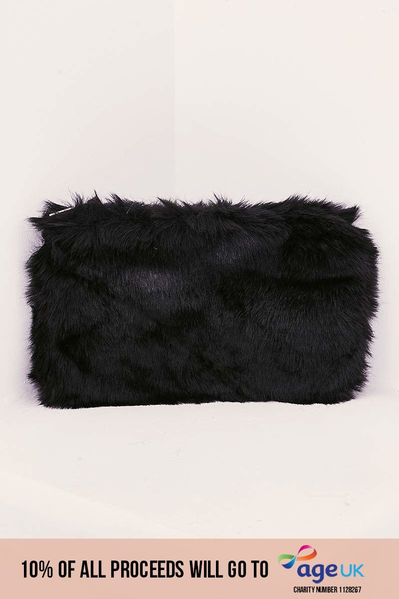 BLACK FAUX FUR BAG