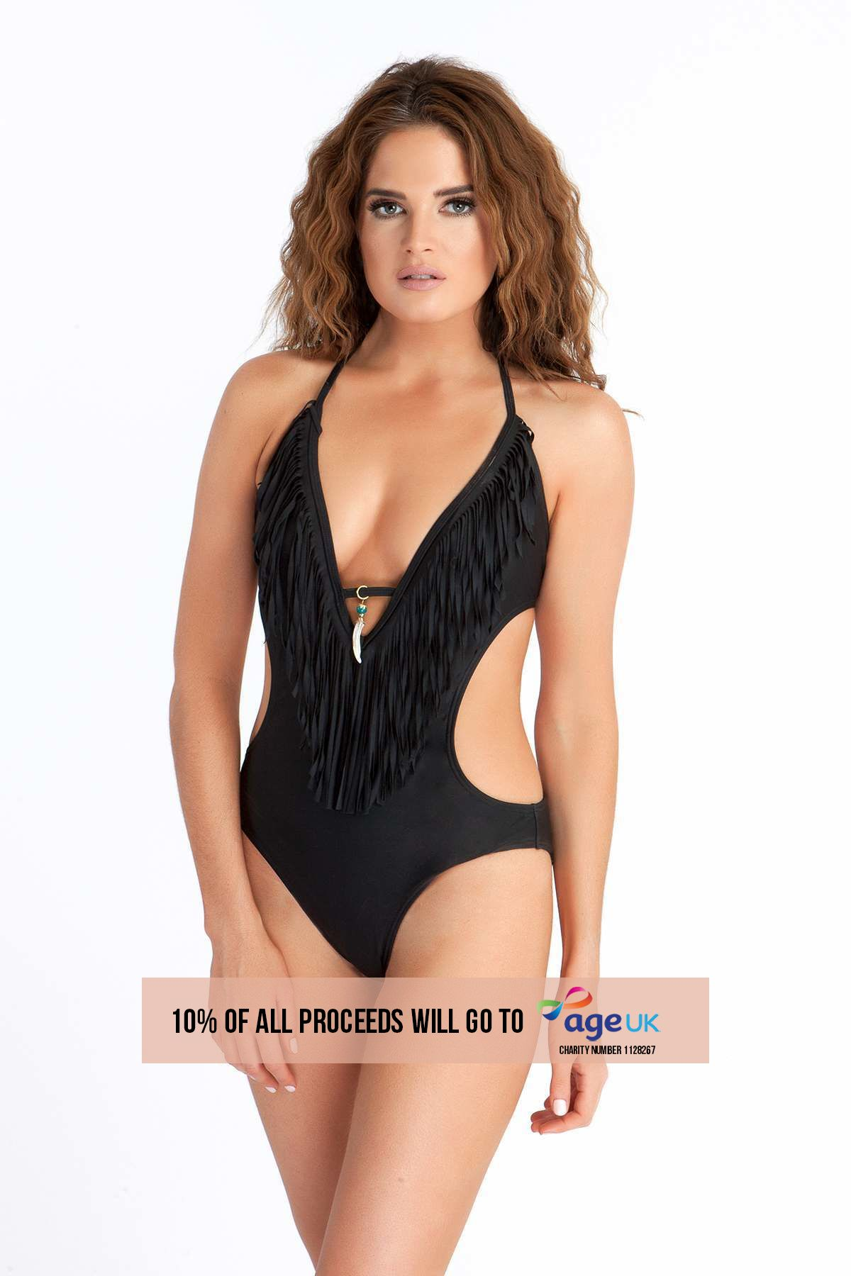 BINKY BLACK FRINGED CHARM DETAIL SWIMSUIT